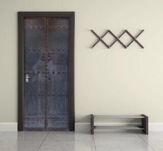3D Decal 2 pcs/set Old Wooden Door Wall Stickers Wallpaper Waterproof Living Room Bedroom Home Decor Poster DM045